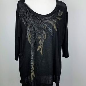 Miss Me Feathers Beads Bows Black Oversize Tee M